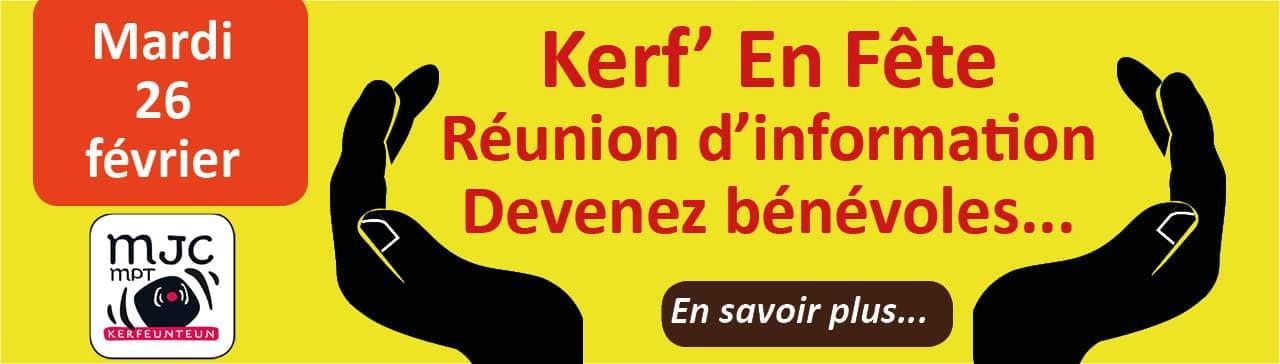 Réunion bénévolat pour kerf en fête le 26 février à la MJC de Kerfeunteun